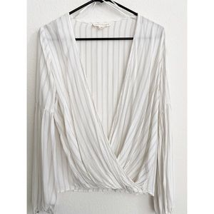 NWOT WHITE PIN STRIPE SURPLICE BLOUSE WITH TASSELS